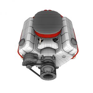 Модель двигателя V8 3D rendercar