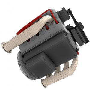 Rendercar Модель двигателя V8 3D